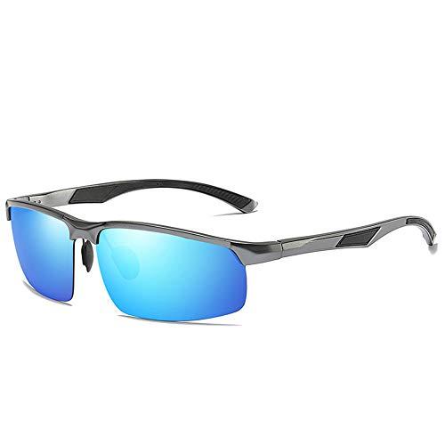 CXJC Herren Polarisierte Sonnenbrille Ultra Leicht Aluminium-Magnesium Halbrahmen für Sport Laufen Radfahren Angeln Fahren Golf für Tag und Nacht Sonnenbrille mit Aufbewahrungsbox Set Blau