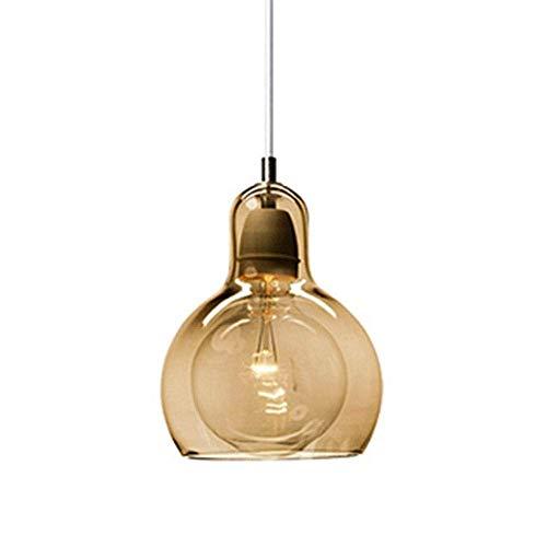 YYDIANZ Pendelleuchte Seeded Einstellbare Glas Drop Deckenleuchten Rustikale Globe Hängeleuchte Klar Hoist Kronleuchter Wohnzimmer Esszimmer Schlafzimmer 18 cm * 23 cm (Color : Amber) - Amber Glass Drop