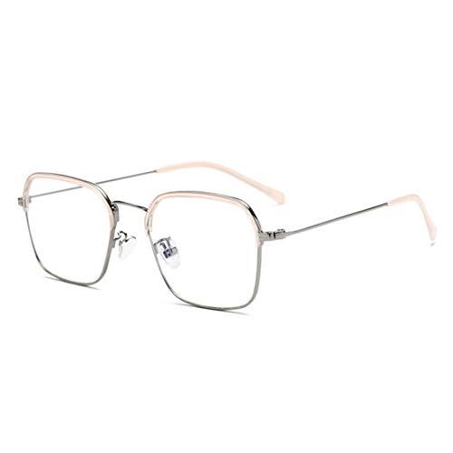 Mkulxina Anti-Blue Light Brillen Metall Männer und Frauen Brillenrahmen klare Rahmen Lesebrille (Color : Pink)