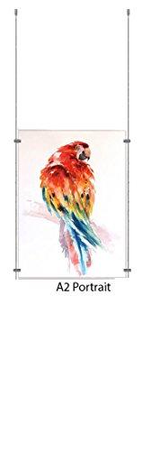 A2 Hochformat Drahtseil Display Acryl Posterhalter Einzelhandel Schaufenster Schilder Display Panels - 1 Pocket Portrait Panel
