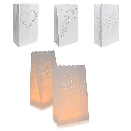 INTVN Kerze Taschen Candle Bags Kerzentüten Lichttüten für Hochzeiten Geburtstage Weihnachten Dekorationen, Weiß, 30 Stück
