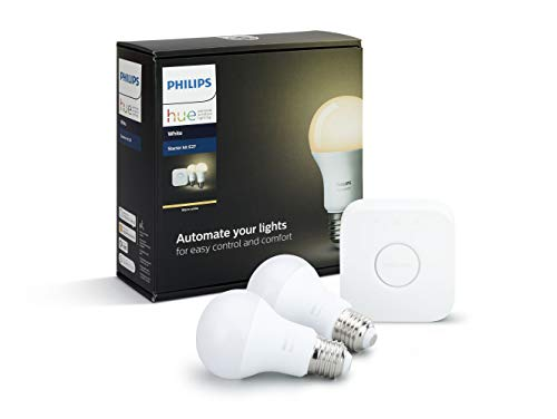 Philips Hue White E27 LED Lampe Starter Set, zwei Lampen inkl. Bridge, dimmbar, warmweißes Licht, steuerbar via App, kompatibel mit Amazon Alexa (Echo, Echo Dot) -