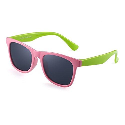 Polarisiert Kinder Sonnenbrille Gummi Jungs Mädchen Kids Flexibel Brille Alter 3-12 (Rosa Grün/Polarisiertes Grau)