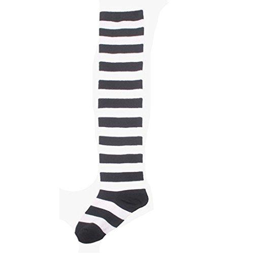 Calze Familizo Strisce a metà coscia SOCKS sopra il ginocchio delle donne delle ragazze di Halloween Cosplay (Nero)