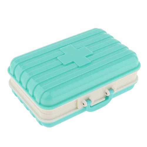 Baoblaze Zahlenschloss Medizinschrank mit Separate Fächer kindersichere Pille Fall Aufbewahrungsbox Box Größe 10,5 x 6,5 x 4 cm - Blau
