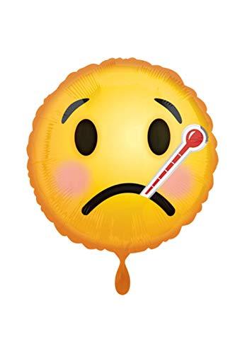 Balloon BANG - XL Folienballon - Emoticon Motiv mit Fieberthermometer zur Guten Besserung - 45cm - perfekte Geschenkideen zum Geburtstag Valentinstag Hochzeit, Party Dekoration, Gelb