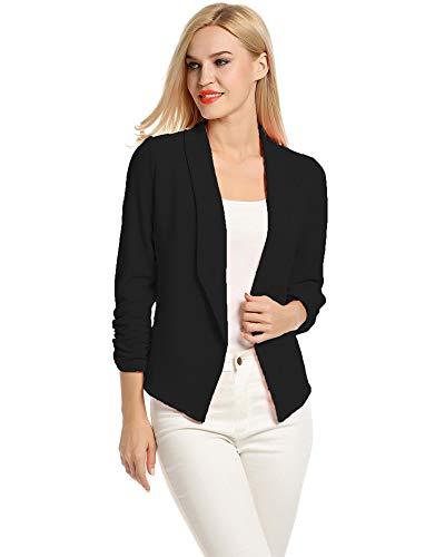 Lalala Damen Elegant Business Jacke Blazer Kurz Anzug Slim Büro Jacke (Schwarz,L