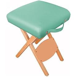 Harima - Hades Verde Profesional de peso ligero plegable silla de madera taburete silla para Belleza Spa Cosmética Masaje Terapia Tatuaje Artista Salón Manicura Terapia Deportiva Con ruedas, diseño de mesa Reiki y portátil
