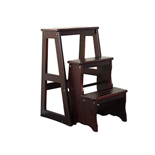 Folding chair Tabouret escabeau escabeau, Tabouret d'escalade ménager, escabeau intérieur en 4 étapes/Tabouret d'escalier Multifonctions/en Bois Massif (Couleur : A)