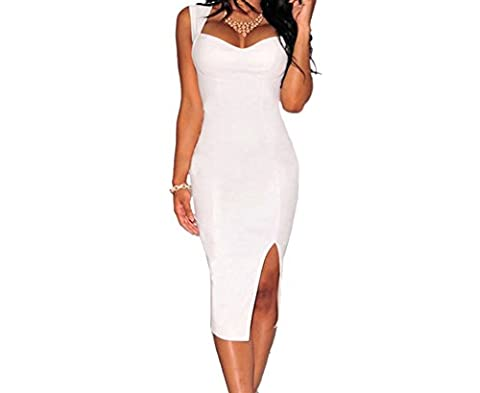 Bling-Bling Womens White Faux Leather Key-Hole Back Padded Midi Dress Size M