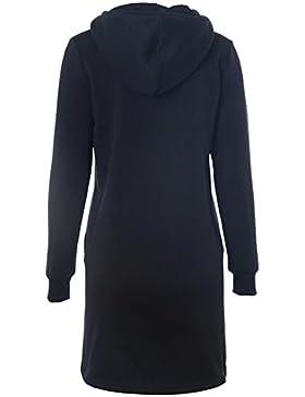Sudadera Vestir Mujers - Otoño Hoodie Larga Jumper Vestir con Capucha Botones Casual Diariamente Negro Azul Verde...