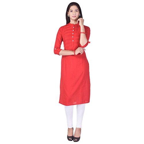 Saranya Turquoise Solid Round Neck Cotton Kurti