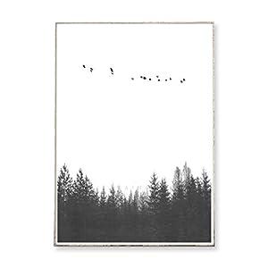 DIN A3 Kunstdruck Poster FOREST 05 -ungerahmt- Wald, Vögel, Tannen, skandinavisch, nordisch, Natur, Landschaft