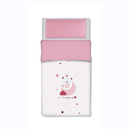 pirulos 34012314 - Sac couette Motif Love, coton, 72 x 142 cm, blanc et rose