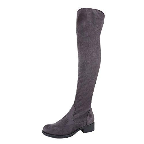 Overknee Stiefel Damen Schuhe Klassischer Stiefel Blockabsatz Moderne Reißverschluss Ital-Design Stiefel Grau