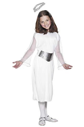 Smiffys, Kinder Mädchen Engel Kostüm, Kleid, Gürtel und Heiligenschein, Größe: M, 99340