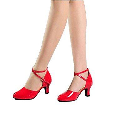 Silence @ pour femme en similicuir Sangle de cheville moderne Chaussures de danse bordeaux