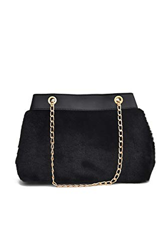 Howoo donne inverno pelliccia ecologica borsa a tracolla cinturino a catena peluche borsetta nero