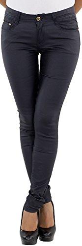Damen Röhrenhose Lederlook Hose Lederimitat Kunstlederhose Skinny Hüfthose Weinrot Anthrazit Blau Schwarz Beige Blau