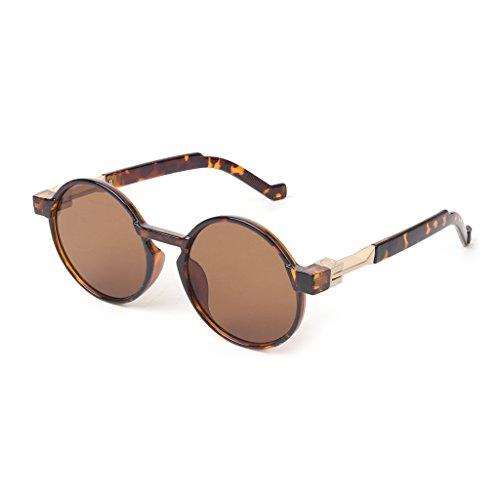 logres 1Paar HOT SALE Sonnenbrille Unisex Fashion Rund Marke Designer Vintage Steampunk Shades (# 002)