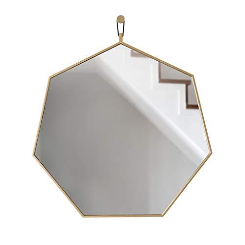Wxx000 Sechseckiger Massivholzrahmen Bad WC Spiegel Hotel Badezimmerspiegel Wandbehang Veranda Badezimmerspiegel (Color : Gold, Size : 57.5 * 64CM)