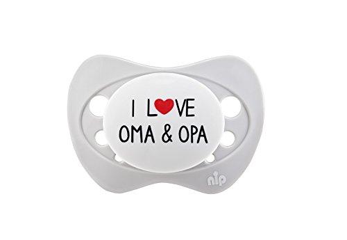 nip Schnuller Limited Edition I love Oma & Opa, kiefergerecht, 0-6 Monate