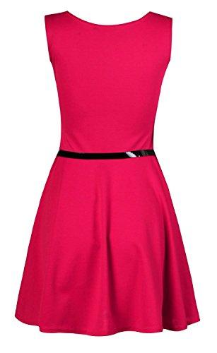 Fast Fashion Damen Kleid Plain Sleeveless Belted Ausgestelltem Skater Fuchsie