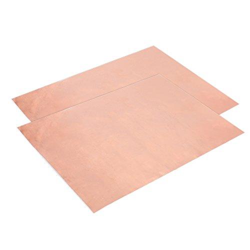 Dilwe Kupferblatt, 2 Stück Praktisches Einseitiges Leitfähiges Kupferblech Kupferfolie Kupferband Kupferplatte für Außenbereich Elektrische Reparaturen