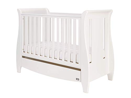 Dove Grey 120 x 60cm 3 Adjustable Positions Tutti Bambini Roma Wooden Sleigh Cot Bed with Space Saver Under Bed Drawer