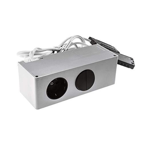 Yu Yang Box 44 Energiebox mit Schalter (Silber, Steckdose, 12V Led Anschluss, Tüv geprüft, 230V, 40W)