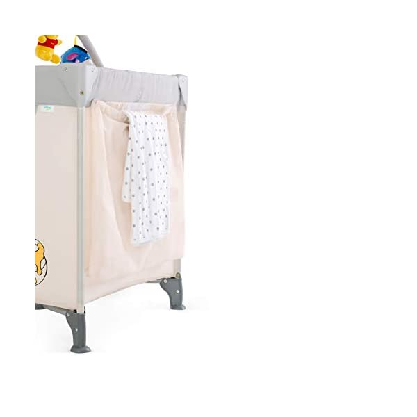 Hauck Dream N Play Go, 5-Part Travel Cot from Birth to 15 kg, 120 x 60 cm, Folding Travel Bed with Folding Mattress, Carry Bag, Play Arch and Toy Bag, Tilt-Resistant, Pooh Cuddles Disney Suitable from birth Includes fold up mattress (60 x 120cm) Folds away into its own carry bag 8