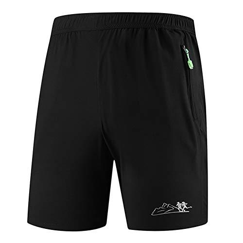 MISSMAO_FASHION2019 Freizeit Laufhose mit Reißverschluss und Taschen für Männer,schnell trocknende Kurze Hose für Übergröße Schwarz L