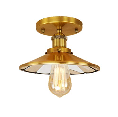 Löslicher LED-Industrie-Deckenleuchte-1 Light Semi Flush Mount Messing Light (Gold) - Messing Semi Flush