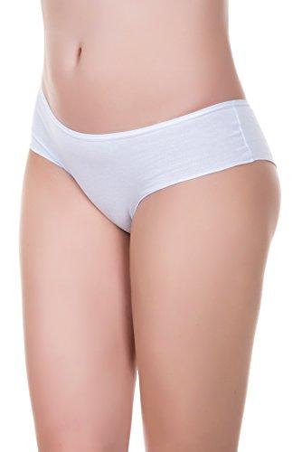 EVONI Damen-Slips aus Baumwolle | 3er-Set Brazilian Panties | Höschen in verschiedenen Farben im Set | bequeme Unterhosen im Multipack | Gr. S | Weiß/Weiß/Weiß | Hipster-Panty für jeden Anlass (Shape Hipster-panty)