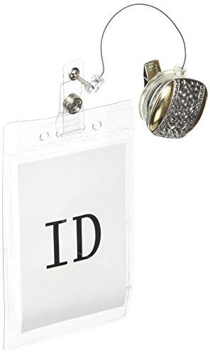 ID Badge Holder Classy Silber Schiffswracks Retractable ID Badge Holder und ID Namensschild. Ausweishalter Clip auf mit Spring Pinch Clip für Namensschilder & Badge Etiketten -