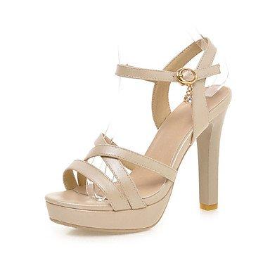 LQXZM Chaussures femmes talons aiguilles/plateforme/Open Toe Sandales Partie &AMP; robe soirée/amande/rose/blanc Almond