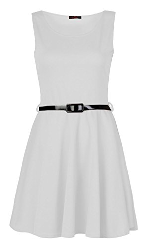 Fast Fashion Damen Kleid Plain Sleeveless Belted Ausgestelltem Skater