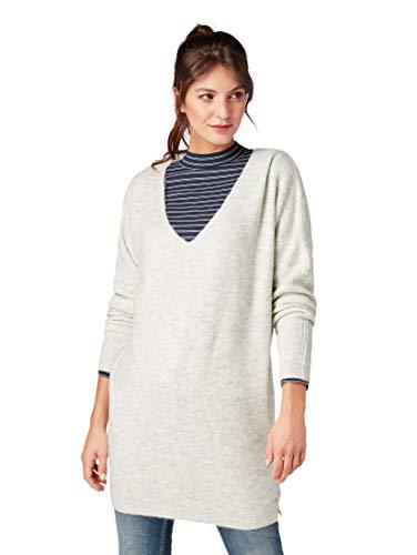 TOM TAILOR Denim Damen Pullover Langer V-Ausschnitt, Beige (Marble Beige Melange 10396), Large
