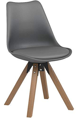 Duhome Elegant Lifestyle Stuhl Esszimmerstühle Küchenstühle !2 er Set! in GRAU Küchenstuhl mit Holzbeine Sitzkissen TYP9-518M Esszimmerstuhl Retro Küchenstuhl Farbauswahl