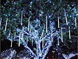elegantstunning Lichterkette Meteorschauer Regentropfen Eiszapfen Schnee Herbst LED Weihnachtsbaum String Licht Geschenk Blau 20 cm