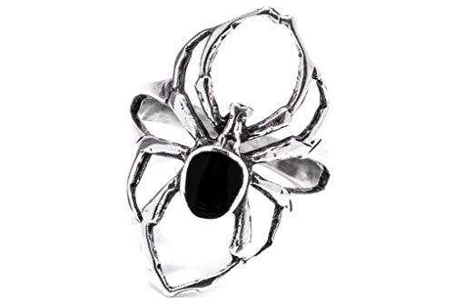 Windalf Spinnen Ring SPY h: 2.6 cm mit schwarzem Onyx 925 Sterlingsilber (Silber, 60 (19.1))