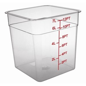 Vogue Square Storage Container 7Ltr Clear Measuring Food Freezer Tubs Restaurant
