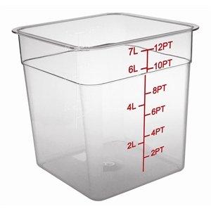 Vogue quadratischer Behälter zur Lagerung, fasst 7Liter, klar, mit Messskala, für Gefrierschrank, Wanne, Restaurant