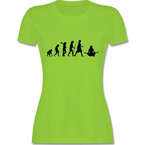 Evolution - Meditation Evolution - tailliertes Premium T-Shirt mit Rundhalsausschnitt für Damen Hellgrün