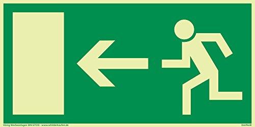 Schild Notausgang Pfeil links langnachleuchtend 297x148mm PVC selbstklebend gemäß BGV 8A (Fluchtwegschild Notausgang Rettungszeichen Rettungsweg Rettungsschild) Dreifke®