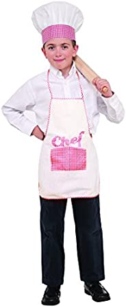 Forum Novelties 78044 Kids Checkered Chef Apron and Hat Set, One Size, Red, Pack of 1