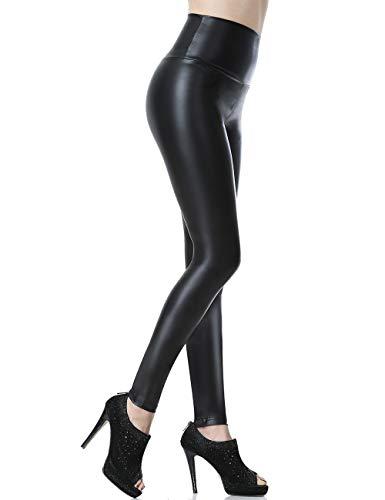 Everbellus Mujeres Pu Leggins cuero Skinny Elásticos pantalones Negro Pequeña