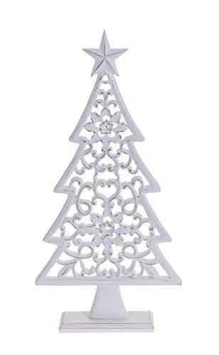 Meinposten Tannenbaum 44 cm weiß Holz Ornament Weihnachtsbaum Holzornament Weihnachtsdeko