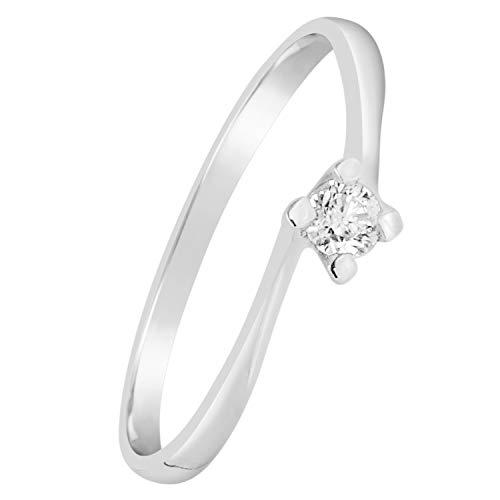 MILLE AMORI Anello Donna Fidanzamento Oro e Diamanti Oro Bianco 9 Carati 375 con 0.04 Carati di Diamanti Clicca Blu e scopri Tutte Le nostre Collezioni