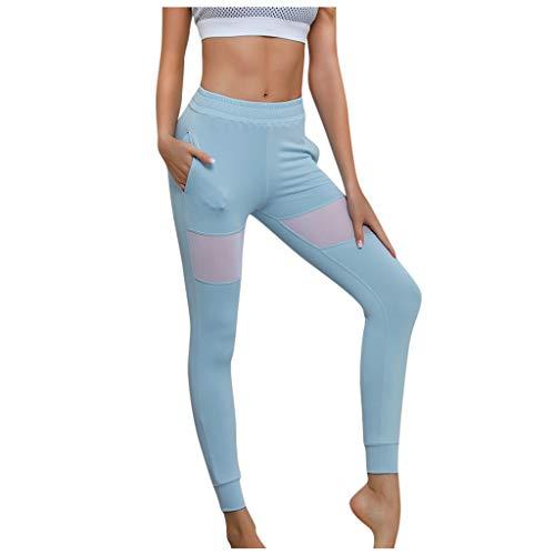 Frau Taschenheftung Eng Anliegende Yoga-Leggings Elastische Tummy Control Yogahose Lange Laufhose Mit Taschen Yebutt